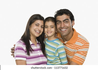 Portrait of a family smiling