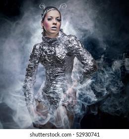 portrait of fantasy cyborg girl in smoke
