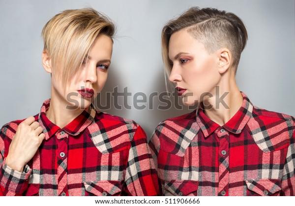 Portrait Fashion Blonde Short Hair Wearing Stock Photo Edit Now 511906666