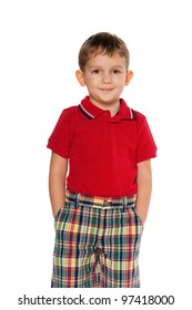 A portrait of a fashion little boy in red; isolated on the white background