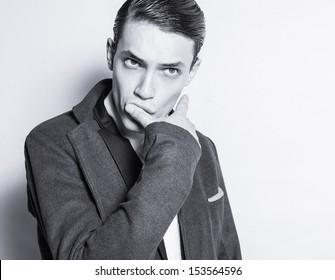 Portrait of fashion male model.