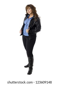 Portrait of a fashionable woman wearing black jacket isolated in a white surface
