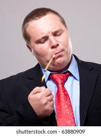 Portrait of a fat businessman