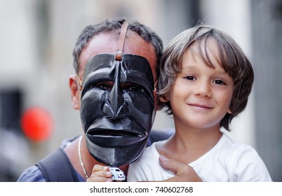 Portrait of a father and his kid