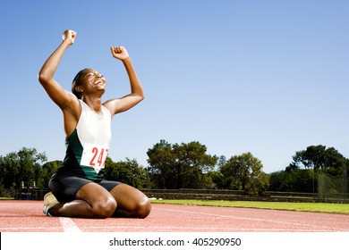 Portrait of a female athlete celebrating her win