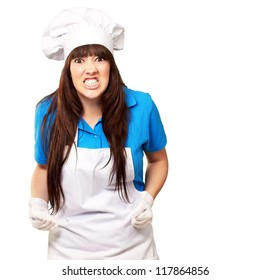portrait of a female chef clenching on white background