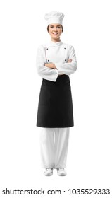 Portrait of female chef on white background