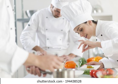 Portrait of a female chef preparing a dish carefully
