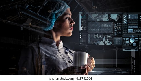 Portrait of female doctor . Mixed media
