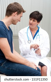 portrait of female doctor with patient at office