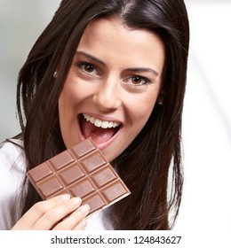 Portrait Of A Female  Eating Chocolate, Background