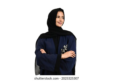 Portrait of Female Emirati on Hijab shawl scarf and Abaya traditional Middle Eastern outfit looking away the camera. Studio shot of Arab woman with isolated white background copyspace.