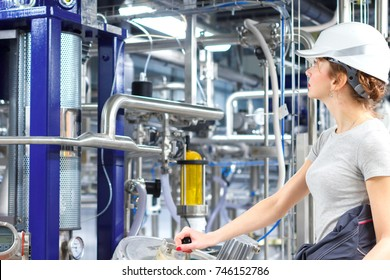 Portrait Of Female Engineering  inspect equipment