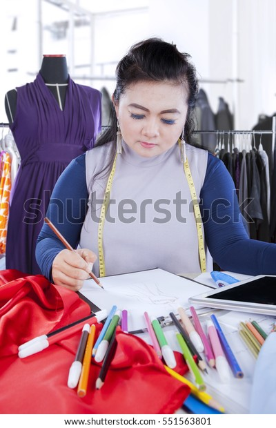 Portrait Female Fashion Designer Drawing Sketch People Stock Image 551563801