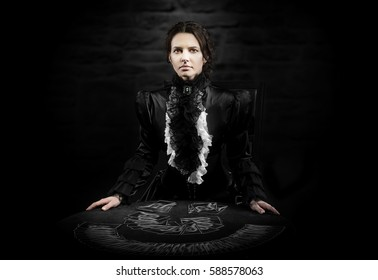 Portrait of a female fortuneteller with the cards