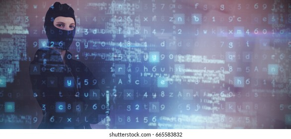 Portrait of female hacker standing with arms crossed against abstract white design