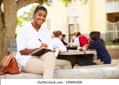 Portrait Of Female High School Student Wearing Uniform