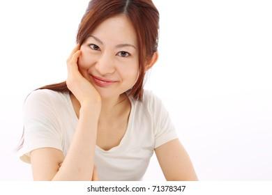 Portrait female japanese  on white background