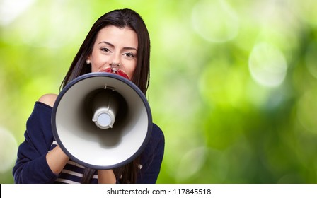 Portrait Of A Female With Megaphone, Outdoor