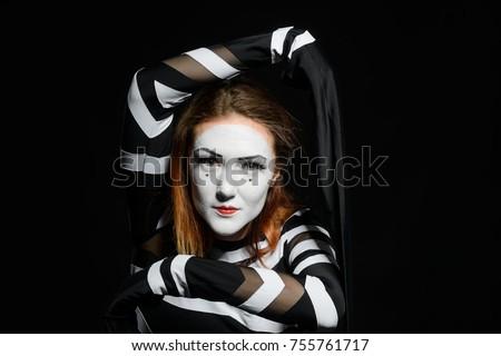 3d0d194af85 Portrait Female Mime Artist Black Background Stock Photo (Edit Now ...