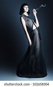 Portrait of a female model, fashion shot.