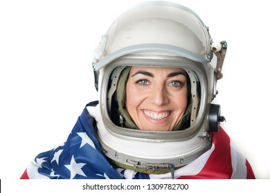 portrait of female pilot of airplane and astronaut of the united states with flag and aviation helmet.concept of independence in united states of America day 4th of July
