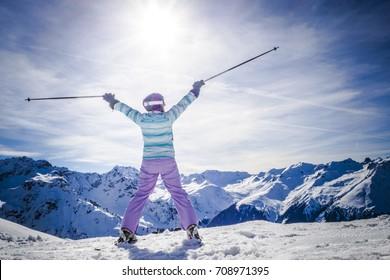 Portrait of female skier at the ski resort