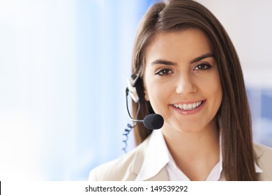 Portrait of female worker customer service