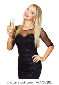 Portrait of a festive blond beauty with glass of champagne.