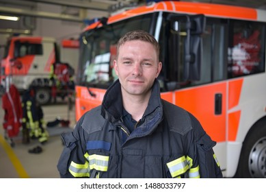 portrait of a firefighter in the operations centre at the fire-fighting vehicle
