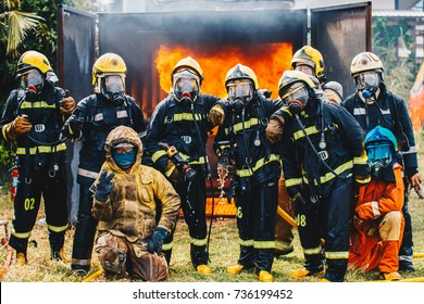 Portrait of firefighters team in uniform ,fireman