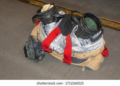 Portrait of a fireman's protective gear