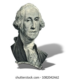 Portrait of first USA president George Washington as he looks on one dollar bill obverse. Photo at an angle of 15 degrees, with a shadow.