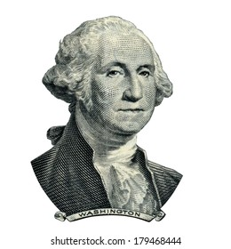 Portrait of first USA president George Washington as he looks on one dollar bill obverse. Clipping path inside.