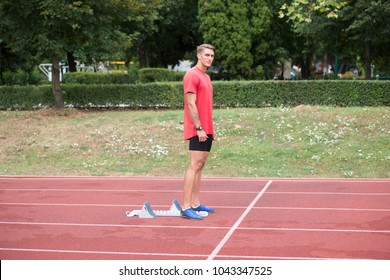 Portrait of Fit and Sporty Young Man Runner in the Park