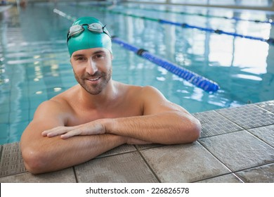 Portrait of a fit swimmer in the pool at leisure center