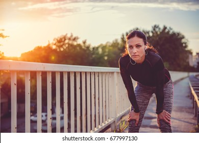 Portrait of fitness women resting after running