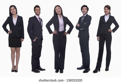 Portrait of five young smiling businesswomen and young businessmen