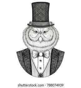 Portrait of fluffy persian cat. Animal wearing jacket with bow-tie and silk hat, beaver hat, cylinder top hat. Elegant vintage animal. Image for tattoo, t-shirt, emblem, badge, logo, patch