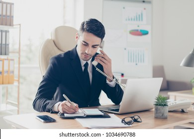 Portrait of focused confident concentrated smart intelligent clever busy expert specialist assistant giving recommendations advice to clients organizing meetings writing information to notepad