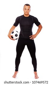 Portrait of football player with ball