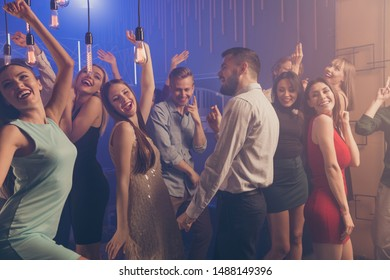 Portrait of formally-dressed people person youth move dance floor listen enjoy dj holidays dressed suit stylish trendy beautiful handsome indoors