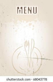 A portrait format image of a menu cover or menu board with text spelling spelling menu Set on a grunge styled background. Ideal use for a restaurant, cafe or bistro.