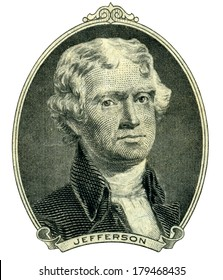 Portrait of former U.S. president Thomas Jefferson as he looks on two dollar bill obverse. Clipping path inside.