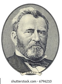 Portrait of former U.S. president Ulysses S. Grant as he looks on fifty dollar bill obverse. Clipping path included.
