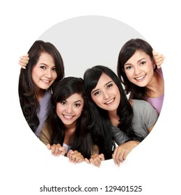 portrait of four asian woman in circle