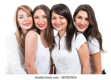 Portrait of four beautiful women on a white background