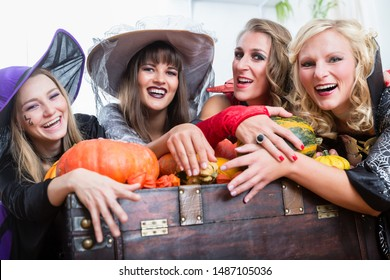 Portrait of four young and beautiful women wearing witch costumes while posing together with pumpkins and an old trunk at Halloween