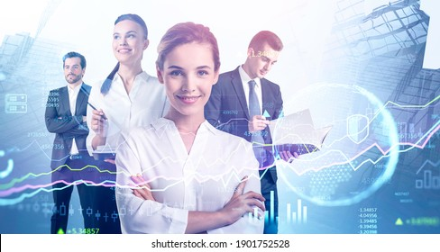Portrait of four young business people working together in blurry abstract city with double exposure of financial graphs and planet hologram. Toned image