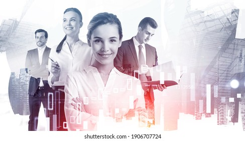 Portrait of four young business people working together in blurry abstract city with double exposure of financial charts. Toned image